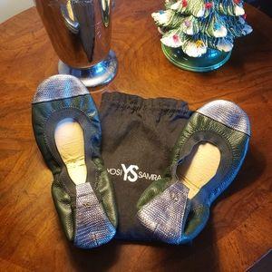 Yosi Samra Foldable Leather Ballet Flats